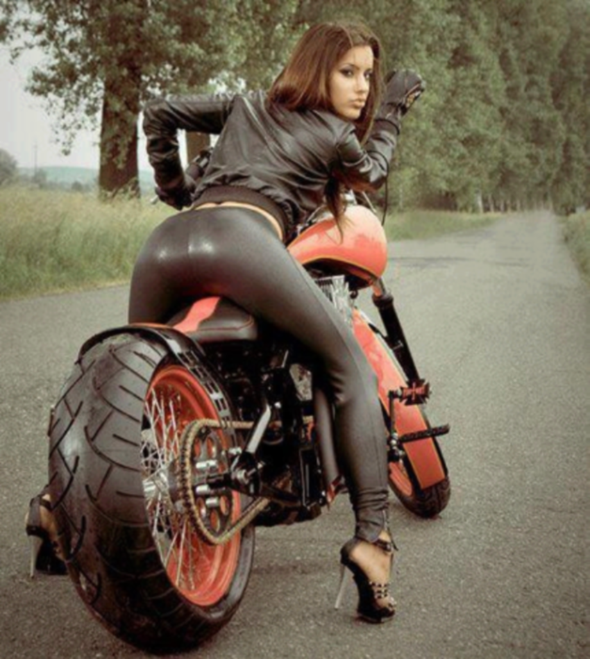 Girl models on motorcycles