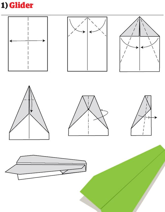 Как сделать из бумаги летающий самолет схема