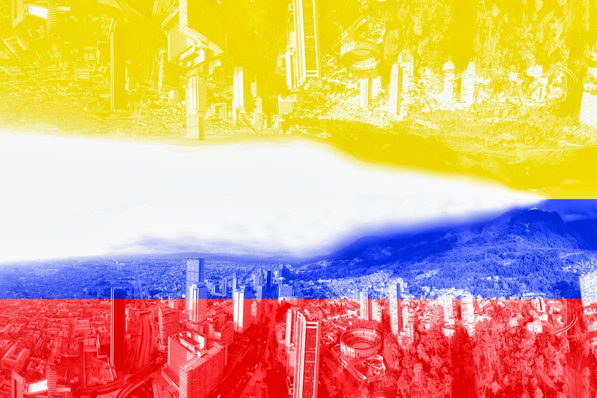 Bandera colombiana. Centro de Bogotá DC       Colombian flag. Bogotá CD Downtown
