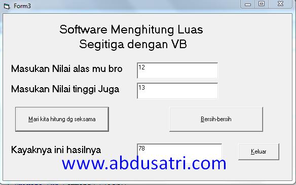 program hitung luas segitiga dengan VB 6.0