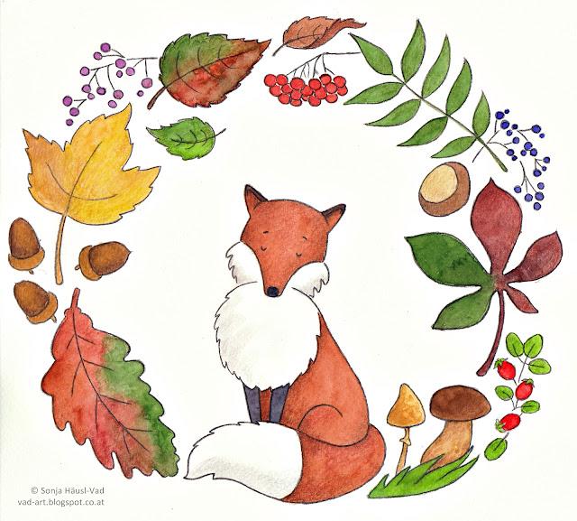 liška, podzim, lišák, obrázek
