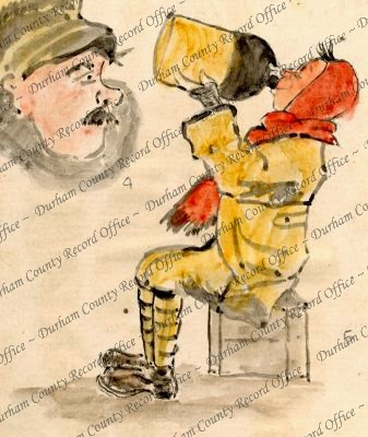 Colour sketch of a soldier drinking cider, drawn By Reverend Birch [1918] (D/DLI 7/63/4(5))