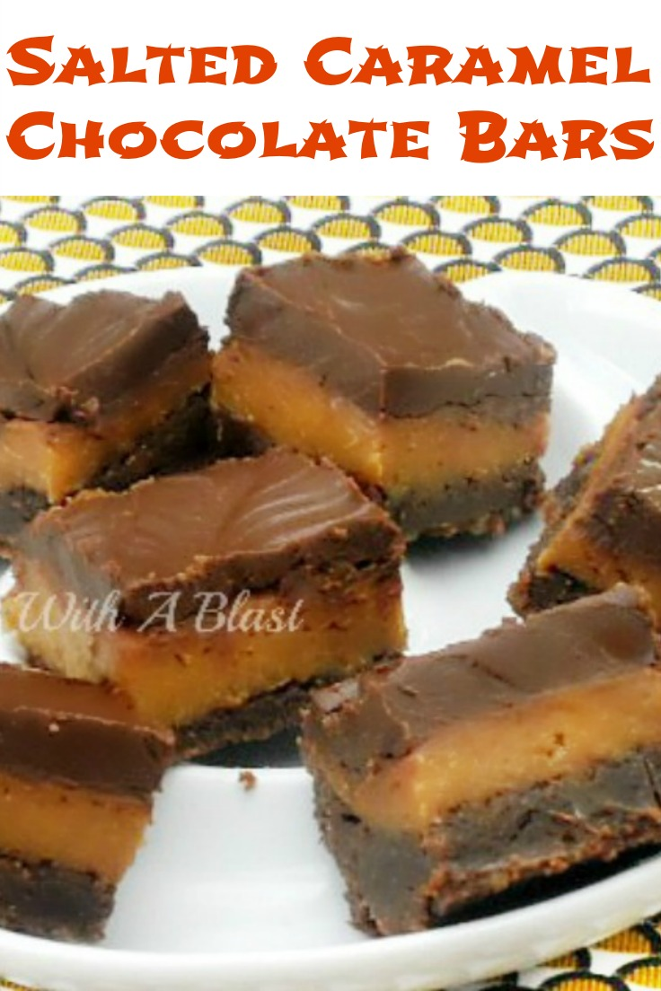 Salted Caramel Chocolate Bars ~ Irresistible Gooey crust, gooey caramel with a smooth Chocolate glaze !