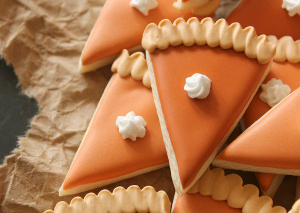 Mini Pumpkin Pie Slice Cookies Thanksgiving desert