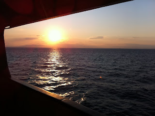 The rising sun on the ferry to Lesbos, Greece.