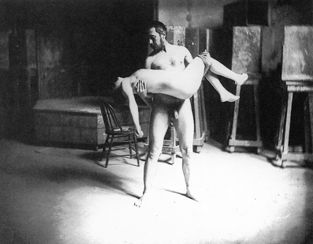 Thomas Eakins carrying a woman, 1885. Photograph: circle of Eakins.