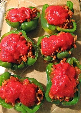 6 Stuffed Peppers in Baking Dish