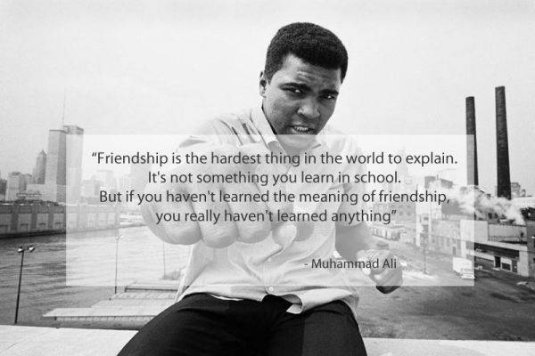 Very cool compilation of quotes on friendship overlaid onto pictures. So many beautiful words about friendship were said. It is always interesting to know, what was friendship for such people like Muhammad Ali, Bob Marley, Oscar Wilde or Friedrich Nietzsche.