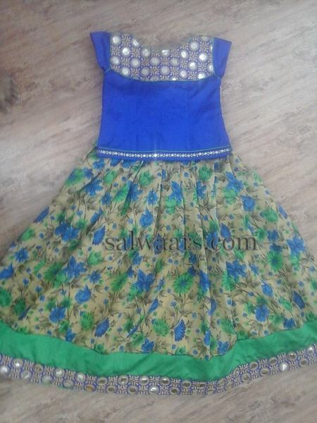 Floral Printed Lehenga in Blue