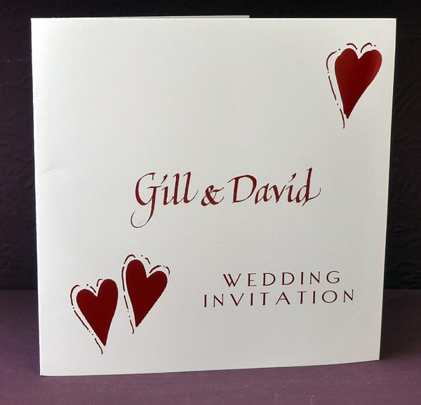 Inspired By Script Red Themed Personalised Wedding Invitations