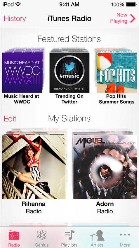 iOS 7 iTunes Radio