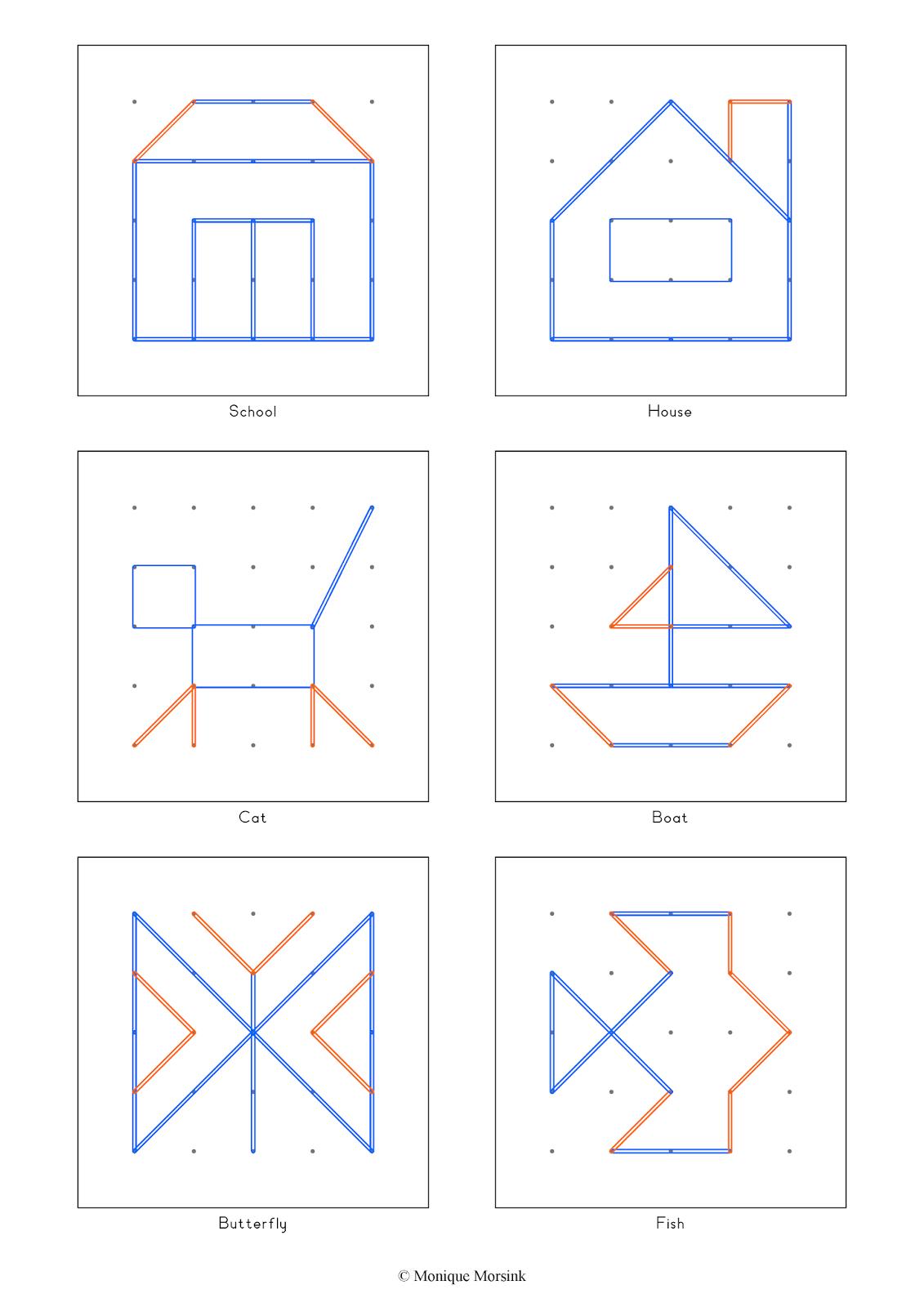Colorful tangrams geoboard geobord geobrett for House of patterns