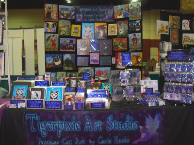 MegaCon set up, Carrie Hawks Tigerpixie Art Studio www.Tigerpixie.com