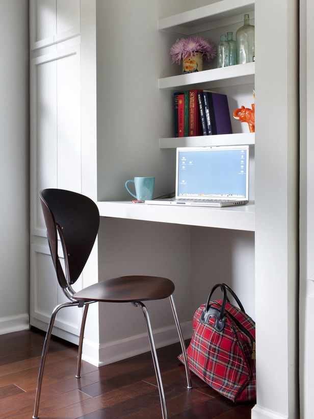 Modern furniture small home office design ideas 2012 from hgtv Closet home office design ideas