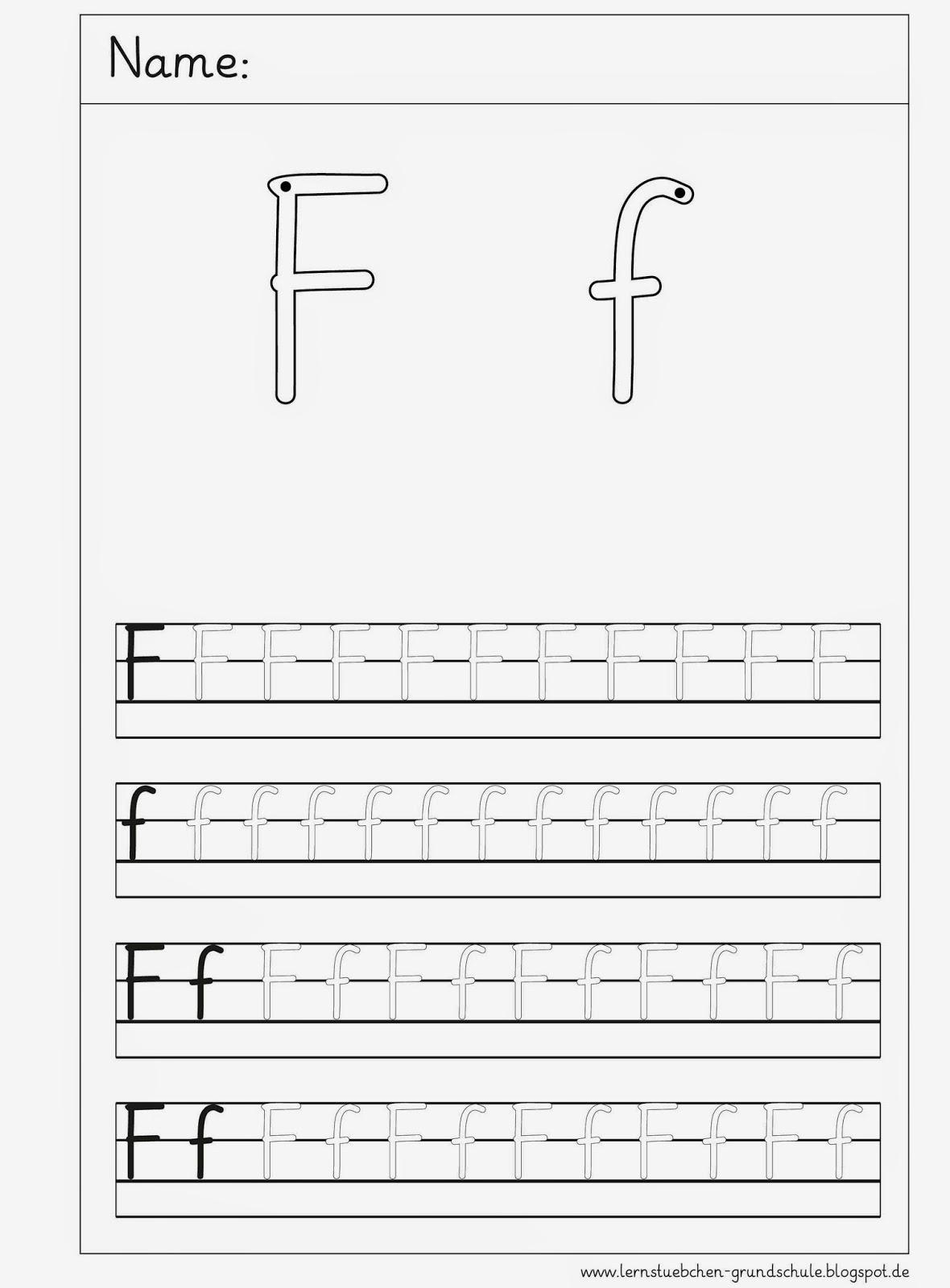Arbeitsblatt Buchstabe F : Lernstübchen schreibblätter zum f