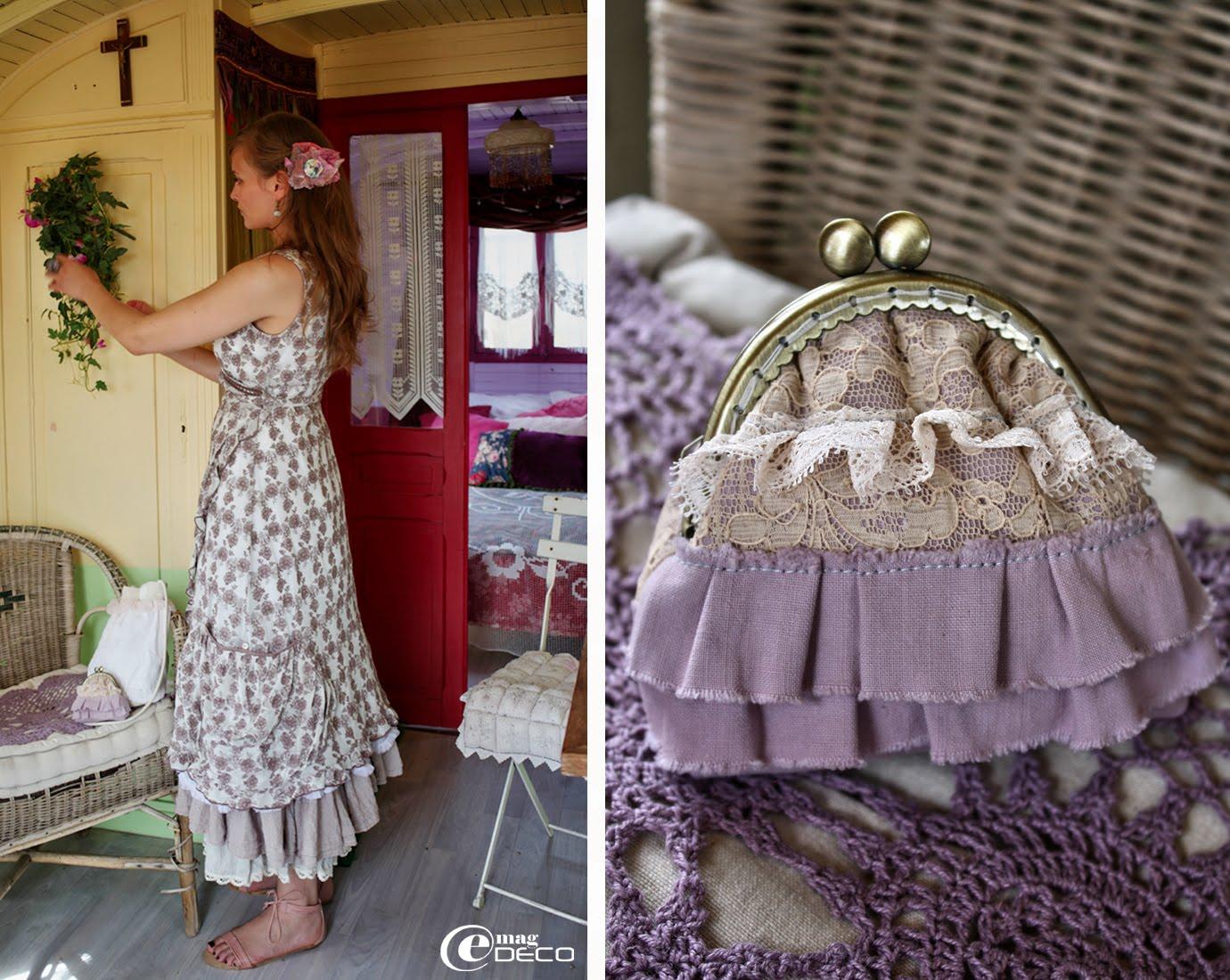 Silhouette romantique, boutique femme Gazoline à Montpellier. Porte-monnaie en tissu et dentelles, création Audelia d'Antan