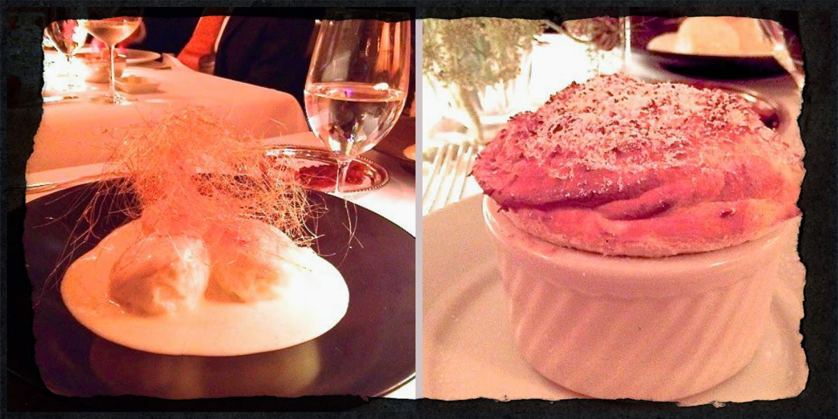 Floating Island and Soufflé desserts at La Grenouille.
