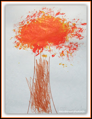 Fall Trees and Color Mixing by Very Young Children via RainbowsWithinReach