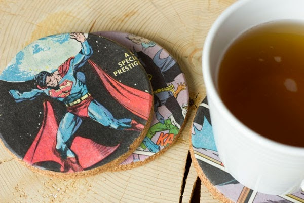 repurposed comic book page coasters