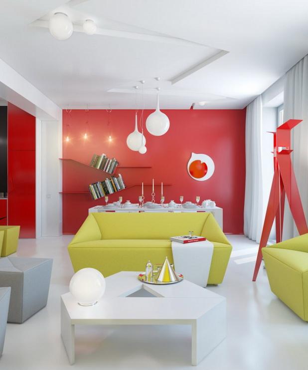 DECO CHAMBRE INTERIEUR: Rouge, Jaune, Blanc conception intérieure ...
