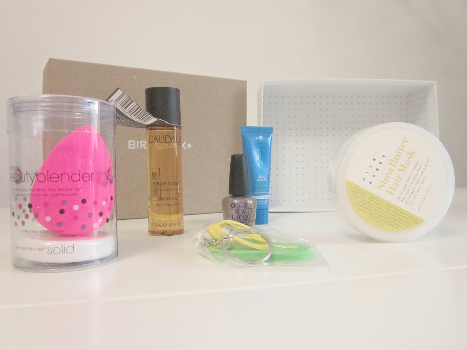 contents of june birchbox caudalie beautyblender