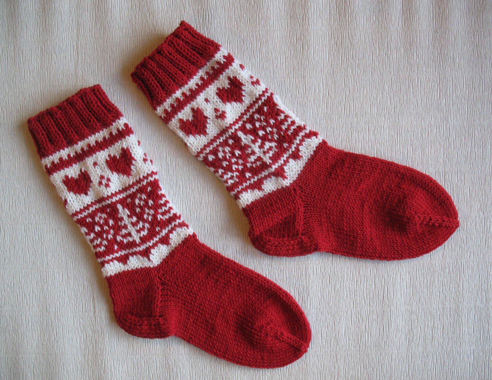 Вязание новогодних носков спицами