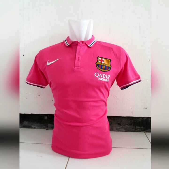 Jual baju bola polo barcelona warna merah muda terbaru musim 2015 2016