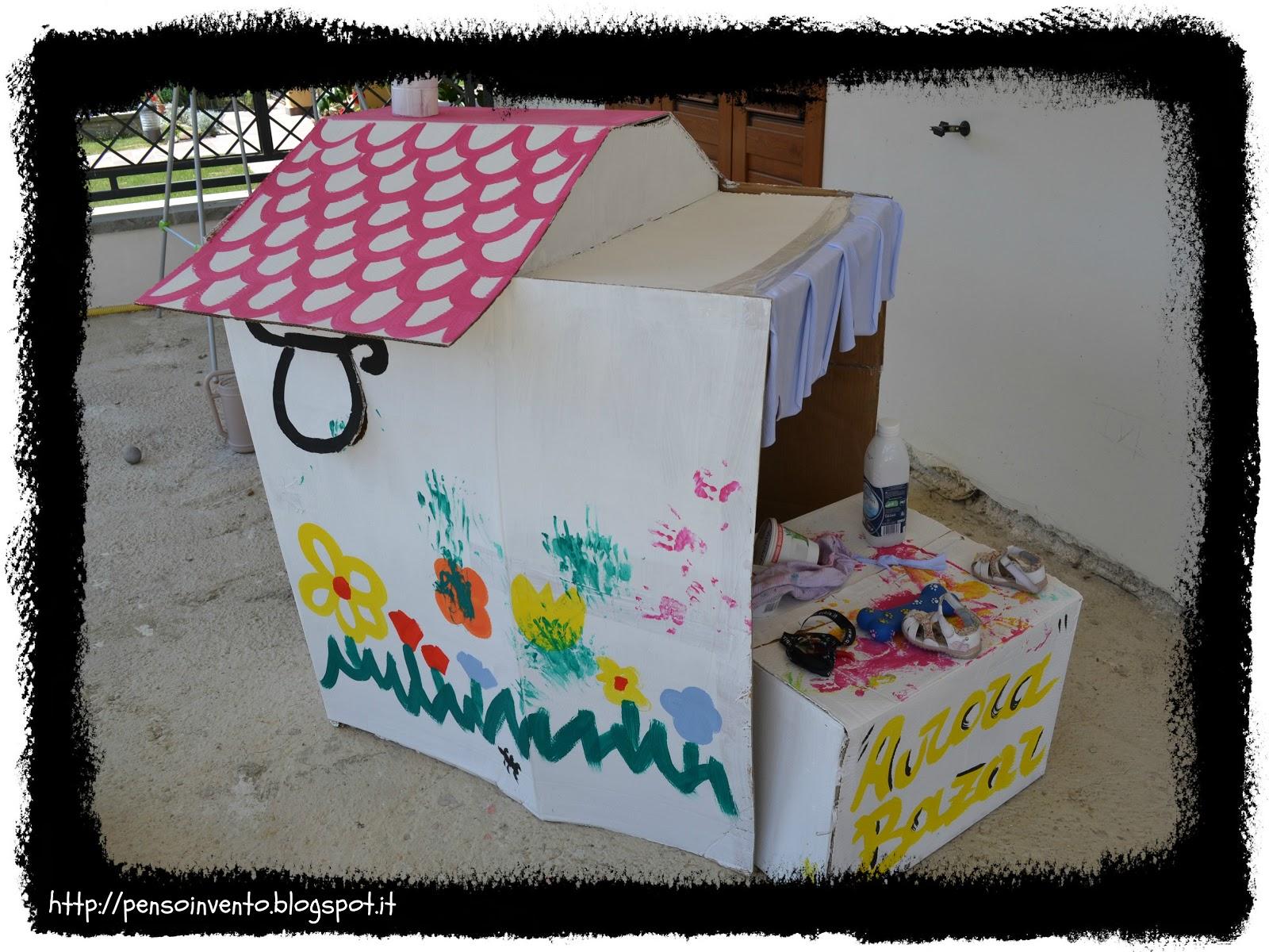 Casa di cartone per bambini che gioia per la mamma penso invento creo - Casa di cartone ...