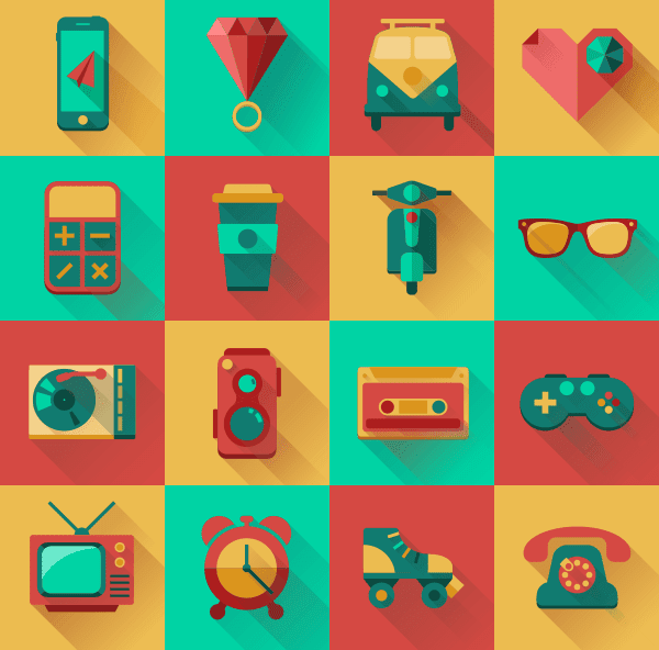 Flat Hipster Icons Design Pack (Free)