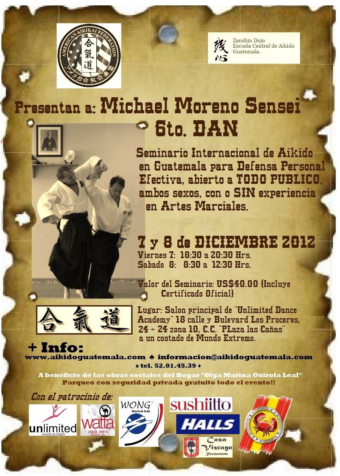 Afiche 9no. Seminario Zanshin Dojo Aikido Guatemala
