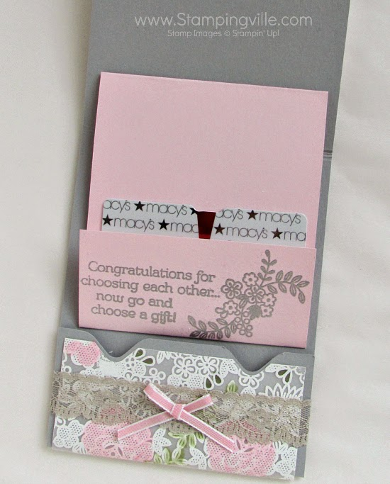 Moving slider panel reveals gift card when card is opened! #papercrafts #cardmaking #wedding #StampinUp