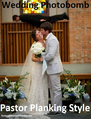 Wedding Photobomb Funny Pastor Planking
