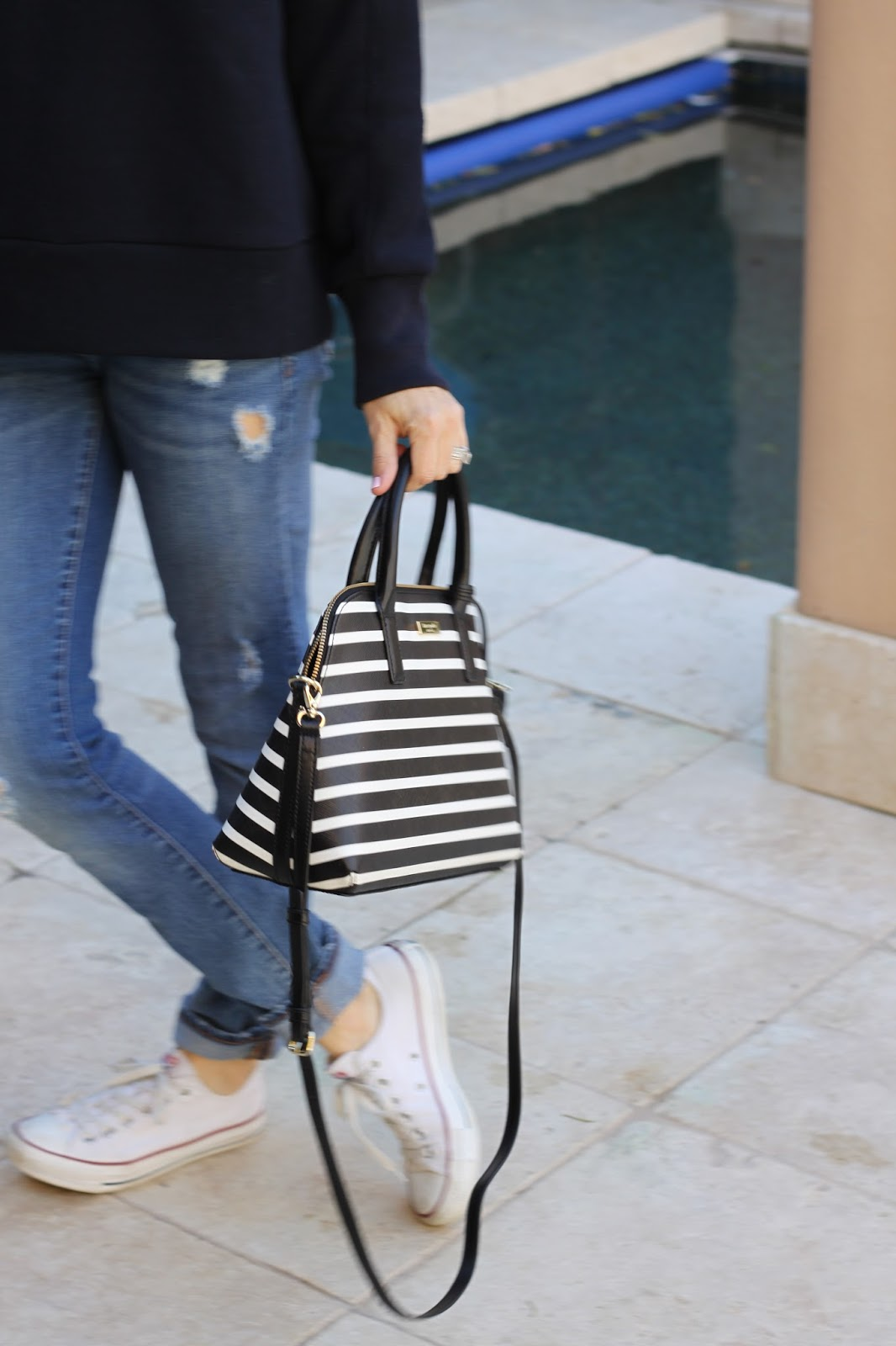 black and white striped purse