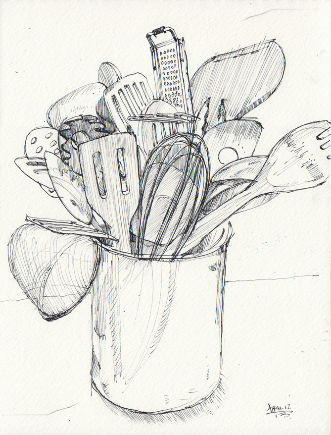 Sketching Along The Way Kitchen Utensils