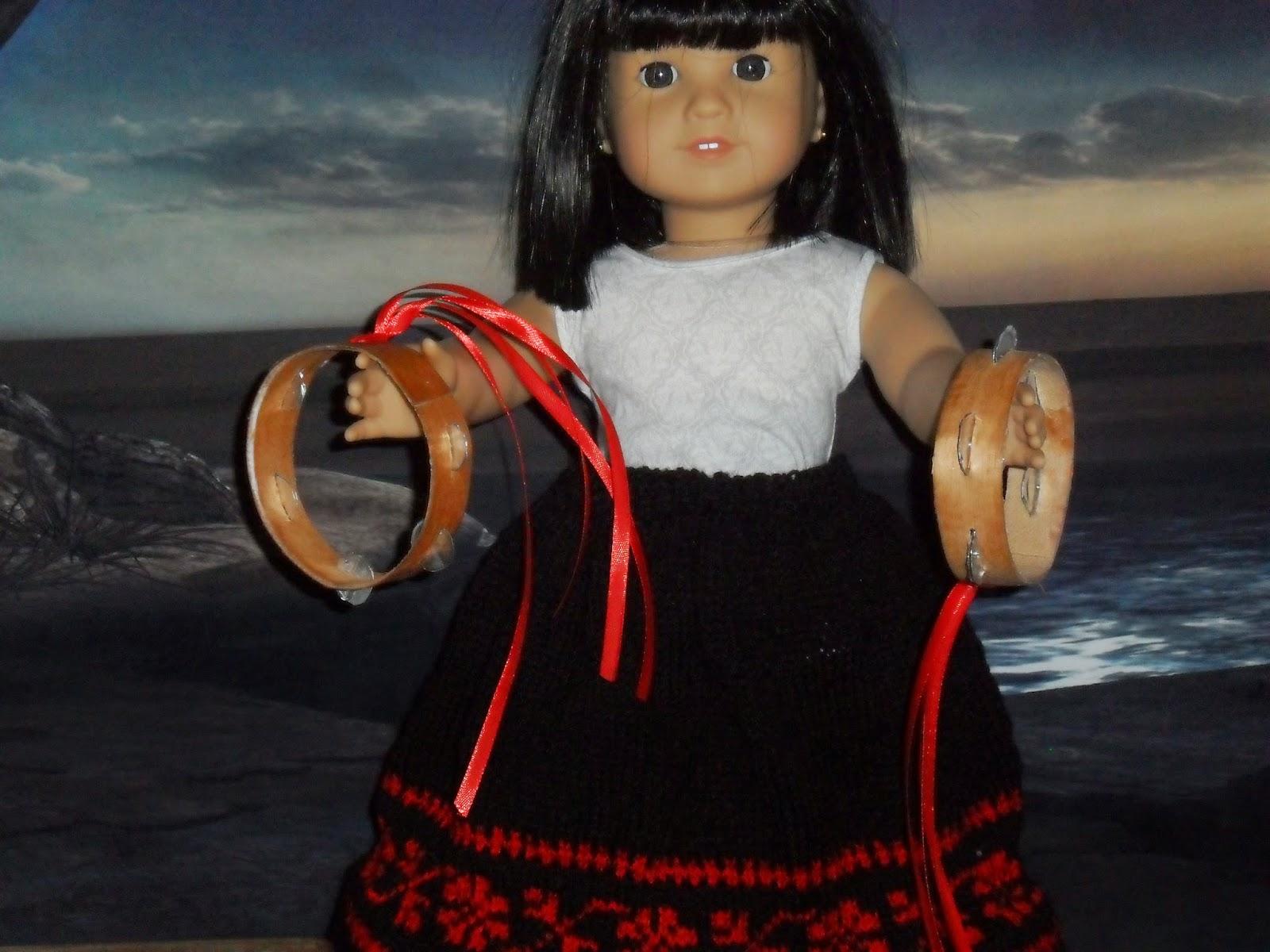 American irl doll tambourine