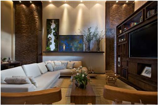 Sala De Tv Com Sofa Marrom ~ Arquitetura & Decoração Michelle Faura Ferrarini Arquitetura e