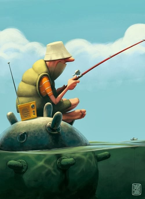 Denis Zilber illustrations funny cartoonish caricatures Fishing