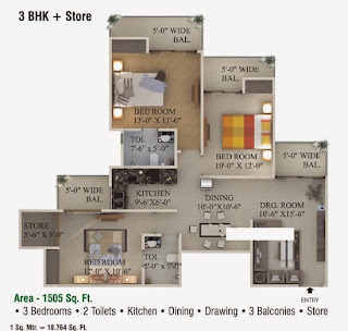 Ecociti :: Floor Plans,3 BHK + Store3 Bedrooms, 2 Toilets, Kitchen, Dining, Drawing, 3 Balconies, Store Area - 1505 Sq. Ft.