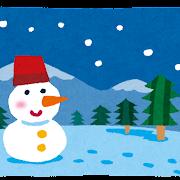 雪景色のイラスト「雪だるまとツリー」