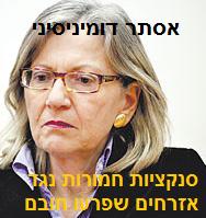אסתר דומיניסיני - סנקציות חמורות נגד אזרחים שפרעו חובם