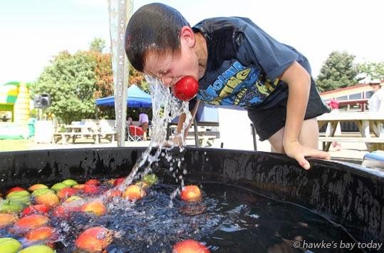 Flynn Kittow, 10, Tikokino, apple-bobbing, got nine in one minute - Country Fair, fundraiser, Tikokino School, Tikokino, Central Hawke's Bay photograph