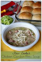 Recipe for Crockpot Chicken Cordon Bleu Soup #soup #slowcooker #crockpotdinner