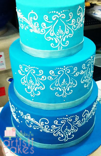 3 Tier Blue Wedding Cake This Was Our Very First And The Budget Too For But It Turned Out