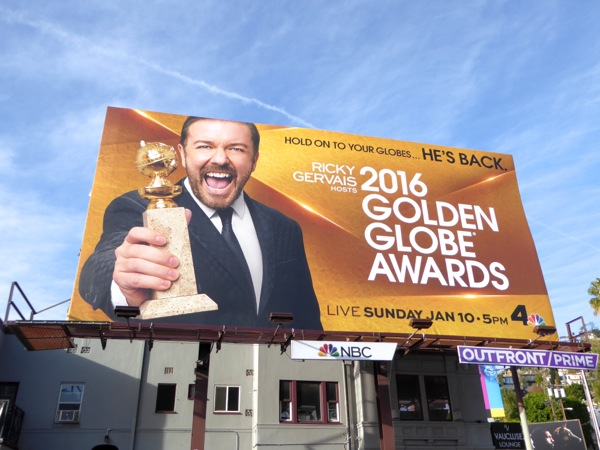 Ricky Gervais 2016 Golden Globe Awards billboard