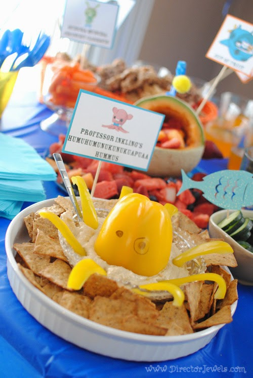 Octonauts Birthday Party Food Ideas | Professor Inkling's Humuhumunukunukuapua'a Hummus Dip | Under the Sea Party at directorjewels.com