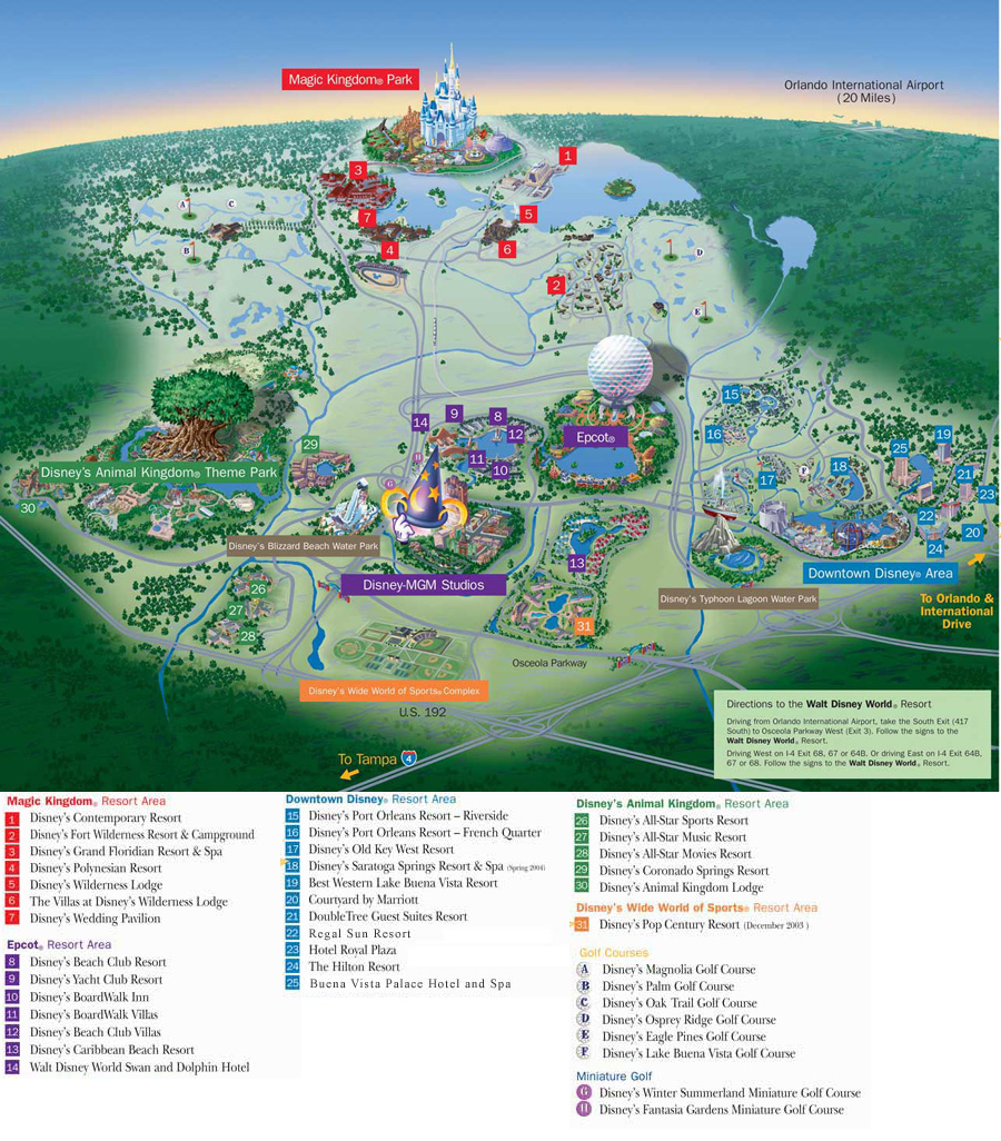 Map of Disney Wedding Events