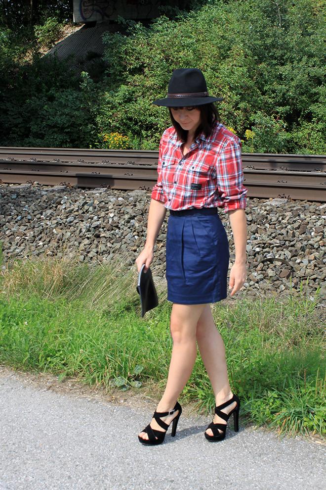 outfit_trend_kariert_blau_rot_rock_highwaist_hut_highheels_boyfriend_fashionblogger