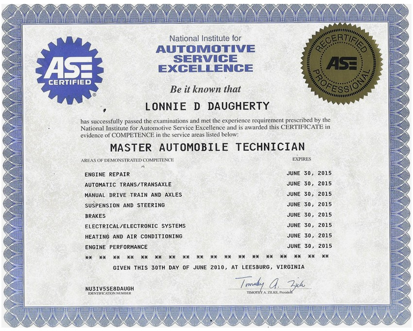 Examples Of Best Certificate Ase Certification