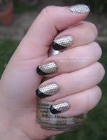 Gold with black tips and black fishnets