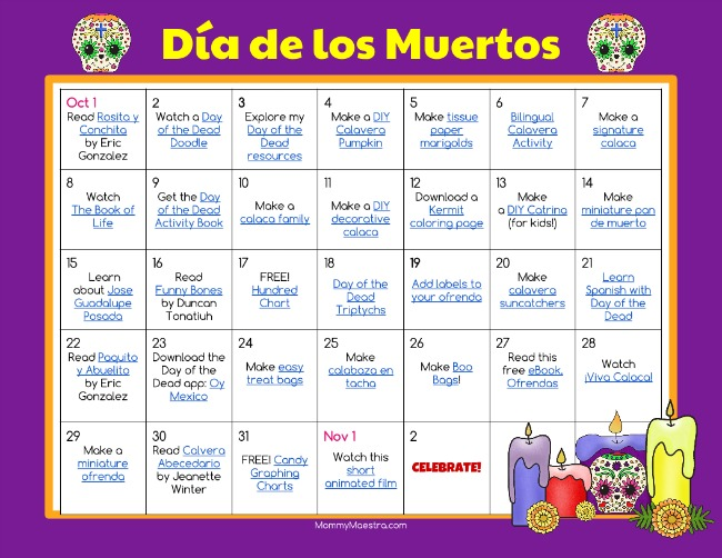Mommy Maestra Day Of The Dead Activity Calendar